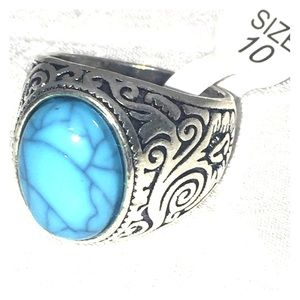 Other - Men's ring faux turquoise size 10